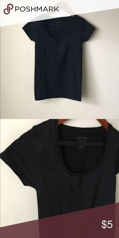 """White House Black Market black stretch tee Black stretch tee - nylon spandex - great for layering - chest across measures 14"""" flat - total length measures 24"""" - lots of stretch - size S White House Black Market Tops"""