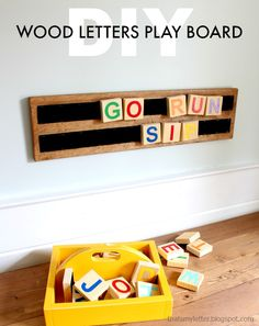 Scrap wood lovers I've got another project for you that makes a fun kids learning toy: wood letters play board. Gather up all your pieces to make the wood letters and paint them fun colors or use vinyl cutouts if you're fancy! Kids can easily move the Diy Wood Projects, Wood Crafts, Woodworking Projects, Woodworking Furniture, Teds Woodworking, Diy Letters, Wood Letters, Painting Wooden Letters, Kids Learning Toys
