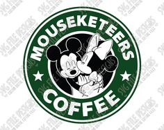 Mickey and Minnie Mouse Starbucks Logo Cut File Set in SVG, EPS, DXF, JPEG, and PNG