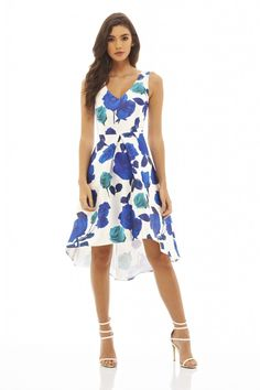 Floral Dipped Hem Skater Dress Ascot Dresses, Blue Dresses, Day To Night Dresses, Street Outfit, Exclusive Collection, Every Girl, Skater Dress, Party Wear, Fashion Online