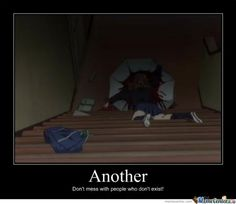 """Another"" horror anime on Crunchyroll. One word = umbrella. Had to walk very slowly down steps, freak out in escalators, fear boats, panic with cars, and trust no one! Me Me Me Anime, Anime Love, Creepy, Scary, Meme Center, Best Horrors, Another Anime, Manga Games, Episode 3"