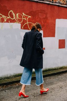 frayed denim culottes