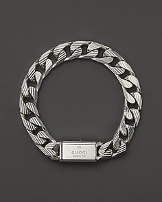Gucci Men's Trademark Stripes Link Bracelet, 8"