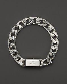 "Gucci Men's Trademark Stripes Link Bracelet, 8"" | Bloomingdale's  Follow us on #facebook:  https://www.facebook.com/westfieldsanfranciscocentre"
