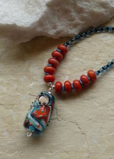 Necklace handmade designer necklace orange by JewellerybyMaxine
