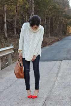 Sheinside cream cable knit sweater