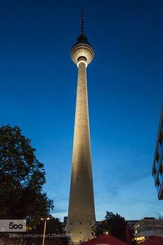 Fernsehturm by RobertoOlivadoti  alexanderplatz architecture berlin blue building city deutschland europe fernsehturm germany light n