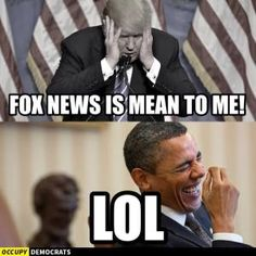 Funniest Donald Trump Memes: Fox News Is Mean to Me. He is taking about you stupid, brainless Obama Political Memes, Political Cartoons, Funny Politics, Trump Cartoons, Liberal Politics, Politicians, Caricatures, Funny Memes, Hilarious