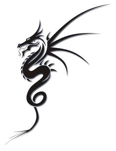 Cool Tribal Dragon Tattoo Design