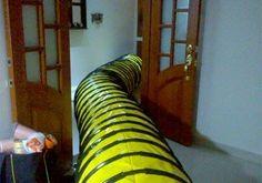 Túnel Amarillo de 6m de largo con aros Negros