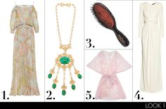 (1) Emilio Pucci printed crinkled silk-chiffon kaftan, $1,994; net-a-porter.com (2) Rewind Vintage Affairs 1970s pendant necklace, $731; farfetch.com (3) Mason Pearson pocket all-boar brush, $99; neimanmarcus.com (4) Gucci pleated jersey gown, $3,300; net-a-porter.com (5) Fleur of England rose kimono, $616; journelle.com