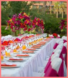 Love the colour scheme - Stylish Caribbean Island Weddings Reception Tablescapes Sunset Wedding Theme, Wedding Colors, Destination Wedding, Hawaiian Wedding Flowers, Tropical Wedding Reception, Tropical Weddings, Wedding Beach, Beach Weddings, Reception Decorations