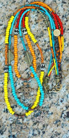 African Tribal Orange, Yellow, Blue Glass and Coptic Crosses Necklace   XO Gallery