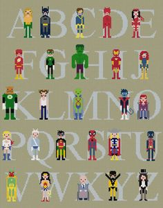 ABC, it's easy as Check out this roundup of alphabet art to get you inspired for your newest DIY project! Superhero Alphabet, Superhero Room, Superhero Names, Superhero Ideas, Cross Stitching, Cross Stitch Embroidery, Cross Stitch Patterns, Diy Broderie, Cross Stitch Alphabet