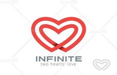 Double Looped Infinity Hearts Logo design vector template. Logotype Couple in Love Valentine Day concept icon.