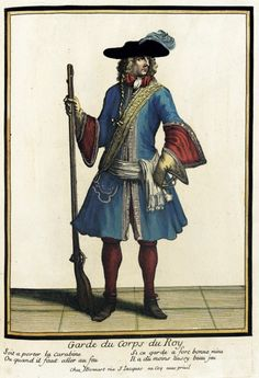 "Post-1685 French Fashion plate ""Recueil des modes de la cour de France, 'Garde du Corps du Roy'"" at the Los Angeles County Museum of Art, Los Angeles"