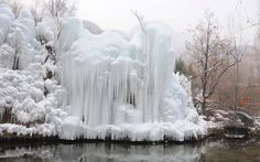 A frozen waterfall in the Taihang Mountains, Hebei Province, China