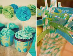 Dinosaur party with printables from thecelebrationshoppe.com ~ cupcake wrappers and straw slips