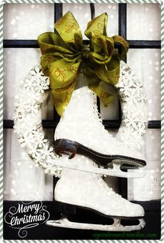 Upcycled Sweater and Ice Skates Wreath