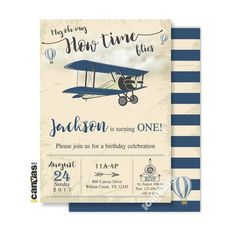 Vintage Airplane Boy Party Invite Time Flies, First Printable or Printed 142 by on Etsy 1st Birthday Boy Themes, Party Themes For Boys, First Birthday Invitations, Boy First Birthday, Boy Birthday Parties, Birthday Ideas, Planes Birthday, Fall Birthday, Vintage Airplane Party