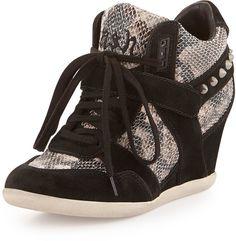 Ash Bisou Snake-Print Wedge Sneaker, Black