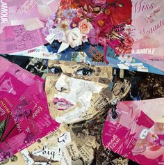 This is a collage portrait that I really liked; I think the pink background really makes the woman's face stand out instead of getting lost in the rest of the collage.