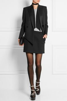 Saint Laurent|Silk-trimmed wool-crepe mini skirt|NET-A-PORTER.COM