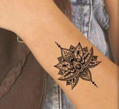 Temporary tattoo mandala lotus fake tattoos realistic thin durable waterproof - Temporary tattoo mandala lotus fake tattoo realistic thin permanent waterproof size: H 2 W You - Lotusblume Tattoo, Hand Tattoo, Tatoo Henna, Lotus Tattoo Wrist, Tatoo Art, Tattoo Fonts, Trendy Tattoos, New Tattoos, Small Tattoos