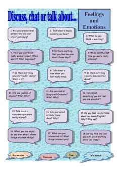 A conversation style worksheet that revolves around the topics of feelings and emotions. Generally speaking I use these worksheets with large classes, but they work just as well with small groups. Some new ones I hadn't thought of before