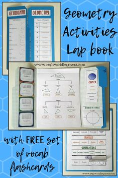 This Geoboard Geometry activities lapbook is composed of graphic organizers that helps students develop a solid, conceptual understanding of Geometry. Each activity includes 2-3 layers of differentiation to be used across across a wide variety of grade and ability levels. Post includes link to a FREE download of vocabulary flashcards. (Product designed by a former high-school Geometry teacher, M.A. / current homeschooling SAHM) #math #geometry #realworldlearners #mathisfun #lapbook