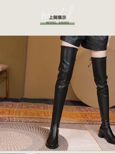 Thigh High Boots, Knee Boots, Thigh Highs, Thighs, Leather Pants, Shoes, Fashion, Leather Jogger Pants, Moda