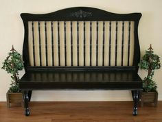 Up-cycle the side rail and the bottom of a crib to create a sweet  bench for an entry way or front porch.  Replacement legs give an updated look.  via allwomenstalk