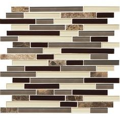 Shop American Olean Mosaic Chateau Emperador Linear Mosaic Stone and Glass Marble Wall Tile (Common: 12-in x 12-in; Actual: 11.75-in x 13-in) at Lowes.com