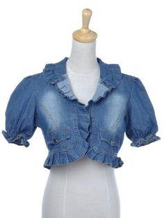 Anna-Kaci S/M Fit Medium Washed Blue Denim Poufy Shoulder S/S Cropped Jacket Anna-Kaci. $24.90
