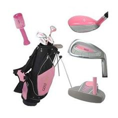 Golf Girl Junior Set for Ages w/Pink Stand Bag RH - - Package includes: Driver with extra loft for easy hitting Oversized Ti-Matrix perimeter-weighted irons with large, forgiving s Junior Golf Clubs, Crazy Golf, Kids Golf, Umbrella Holder, Golf Club Sets, Golf Tips For Beginners, New Golf, Sport Fitness, Kids Bags