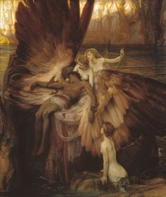 'Lament for Icarus' - Herbert James Draper Classic Paintings, Old Paintings, Aesthetic Painting, Aesthetic Art, Rennaissance Art, Renaissance Paintings, Art Hoe, Classical Art, Old Art