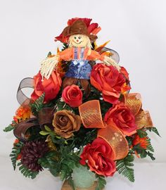 Multi Flowers Fall Autumn Halloween Silk Flower 3 inch Cemetery Arrangement #Crazyboutdeco