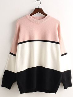 Casual Style Round Collar Long Sleeve Color Block Loose-Fitting Knitwear For Women
