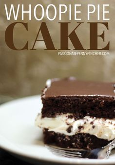 Chocolate Whoopie Pie Cake is everything you need rolled right up in one perfect cake, and your family will rave about your baking skills! Cupcake Recipes, Cupcake Cakes, Dessert Recipes, Cupcakes, Dessert Ideas, Cake Ideas, Yummy Recipes, Chocolate Whoopie Pies, Sweets