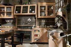 cuisines marchi en bois avec élément décoratif ardoise