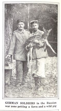"""""""German soldiers in the Russian war zone petting a fawn and a wild pig."""" WWI image, Visual Studies Collection, Library of Virginia. Wwi, Soldiers, Virginia, German, Memories, Pets, Painting, Animals, Image"""