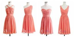 Group of Four Watermelon/Light Coral Short Chiffon Bridesmaid Dresses, Other Colors Are Available on Etsy, $88.00