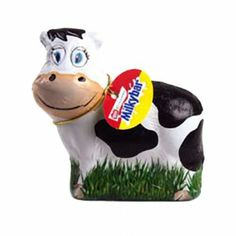 The Nestle Milky Bar Cow is a hollow cow shaped figure made with extra thick white Milkybar chocolate covered in cow foil design.