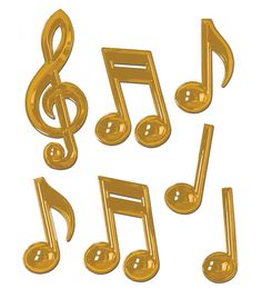 Buy Gold Plastic Music Notes | Music Gift | Music Decor | -