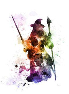 Gandalf, el Señor de la ilustración impresión del arte de los anillos, decoración casera, arte de la pared, fantasía
