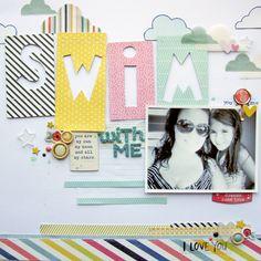 Swim With Me scrapbook layout by Nicole Nowosad