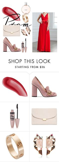 """""""Red A Line Princess V Neck Floor Length Chiffon Evening Dress Ruffle Bows Harry Dress HD22550"""" by harrydress on Polyvore featuring Yves Saint Laurent, Gucci, Maybelline, Mansur Gavriel, Cartier, Nak Armstrong and Chanel"""