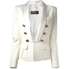 BALMAIN fitted blazer ($1,235) ❤ liked on Polyvore featuring outerwear, jackets, blazers, coats, balmain, long sleeve blazer, white fitted blazer, blazer jacket and white blazer jacket