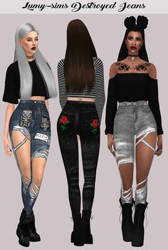 Lumy Sims – Destroyed Jeans for The Sims 4 Sims 4 Teen, Sims 4 Toddler, Sims 4 Game Mods, Sims Mods, Vêtement Harris Tweed, Free Sims 4, Pelo Sims, Sims 4 Dresses, Sims4 Clothes