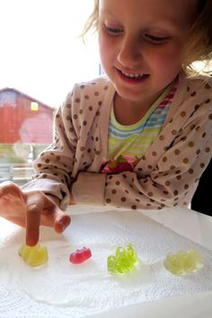 DIY crafts and kids activity ideas for creative parents Gummy Bear Science Project, Gummy Bear Experiment, Elementary Science Fair Projects, Science Fair Projects Boards, Science Experiments Kids, Science For Kids, School Age Crafts, Kindergarten Science, Preschool